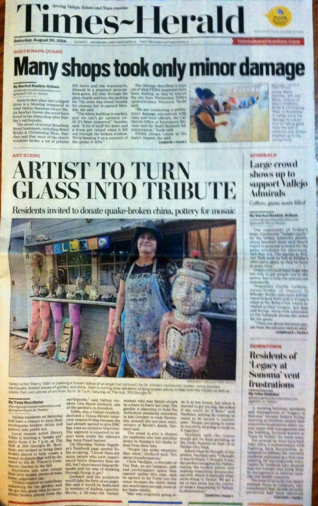 Sherry Tobin on the front page of the Vallejo Times Hearld