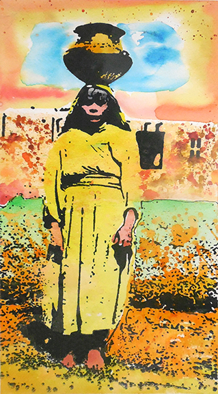 mujer amarillo