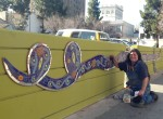 Sherry working on the mosaic ribbon located on 2nd Street in San Jose, CA