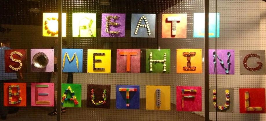 """Create Something Beautiful""  Public Instalation for Vallejo Downtown Art Windows Created with Erin Bakke"