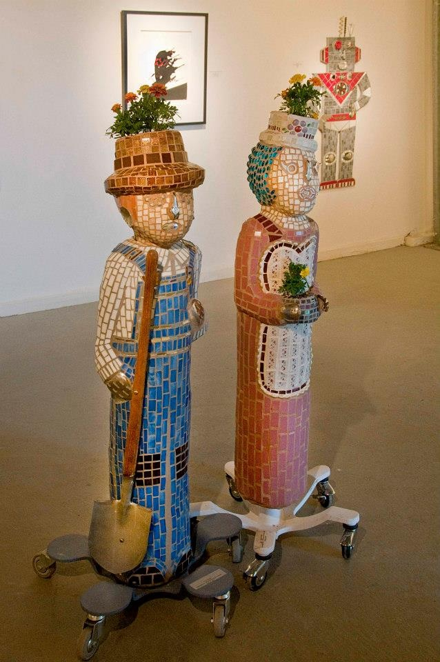 """The Farmer and Ethel"" Mixed Media Mosaic Sculptures"