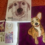 "One of Sherry Tobin's pieces included in, ""1,000 Dog Portraits"""
